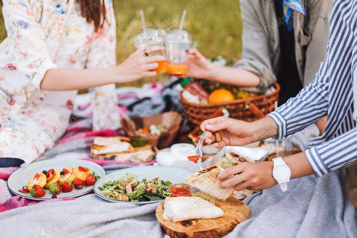 Close up girls spending time on beautiful picnic with variety of