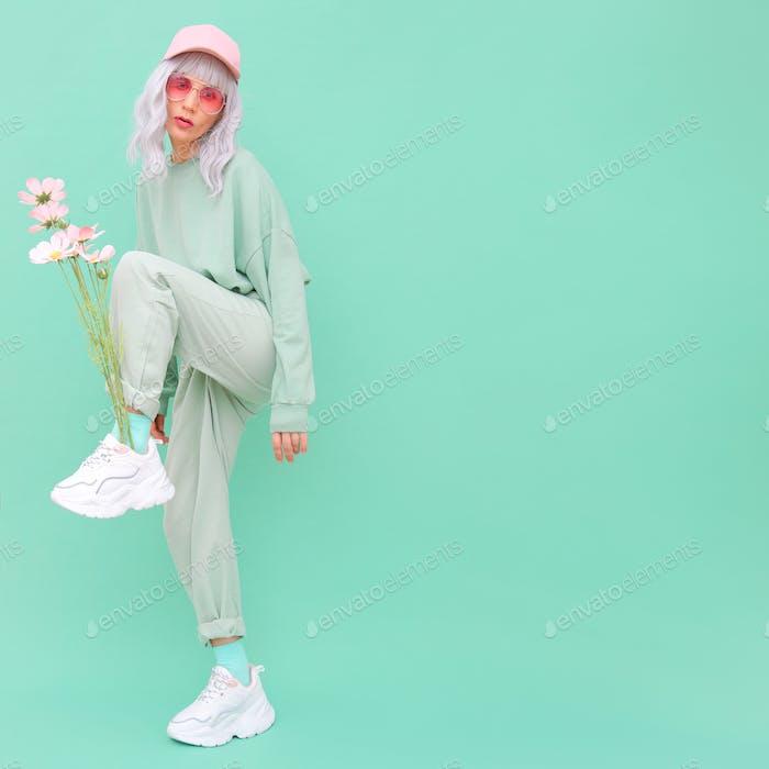 Vanilla fresh urban summer style. Girl 90s aesthetic. Monochrome color trends. Aqua Menthe mood