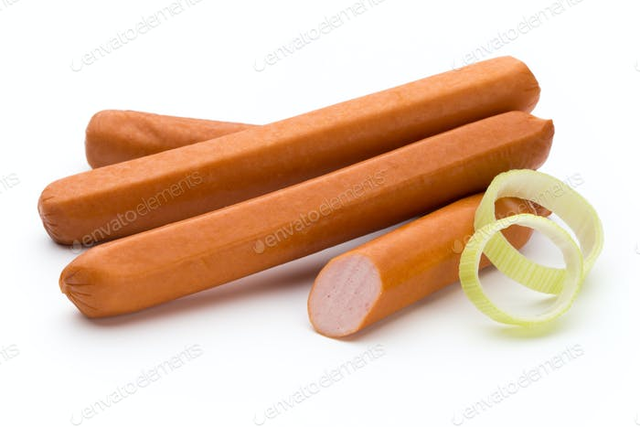 Fresh sausage isolated over white background.