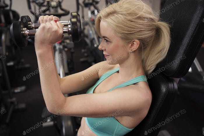 High angle view of exercising woman
