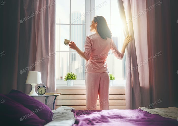 woman enjoying sunny morning