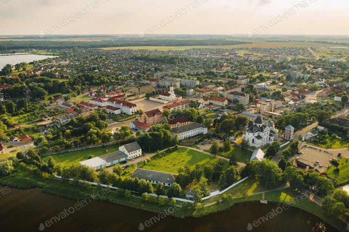 Top view of the summer city of Nesvizh. Belarus