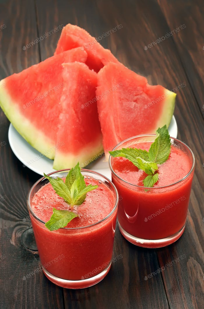 Watermelon cocktail in glass