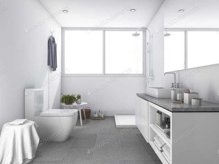 3d rendering bright white clean toilet and bathroom