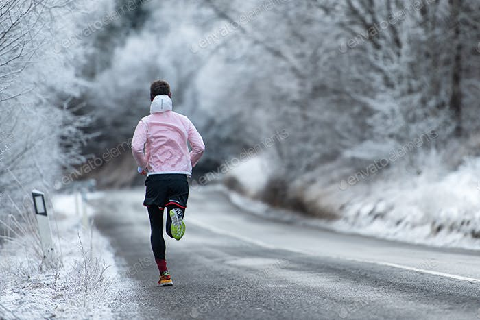 Running during training on icy road