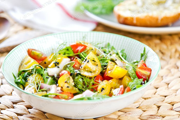 Tomato salad with Grilled cheese