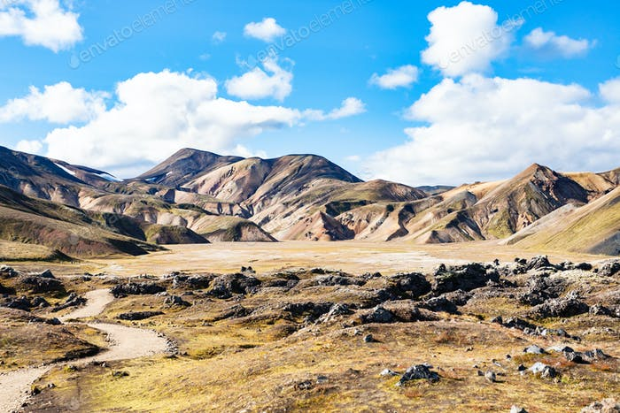 path to valley in Landmannalaugar in Iceland