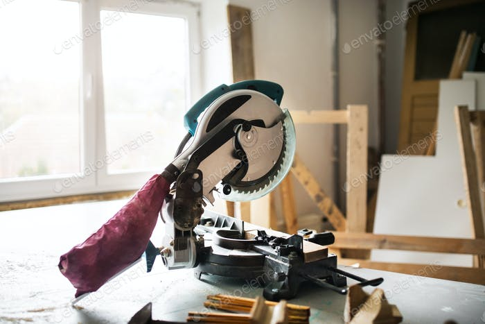 Electric tool in a carpenter workroom.