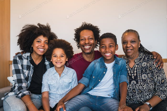 Portrait of multigenerational family at home.