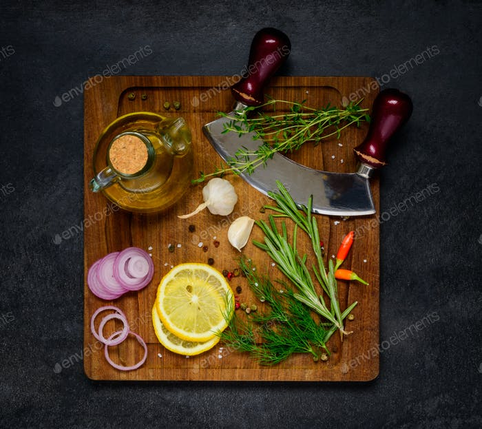 Cooking Ingredients on Wooden Chopping Board