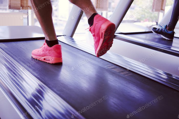 sportsman exercise jogging on treadmill