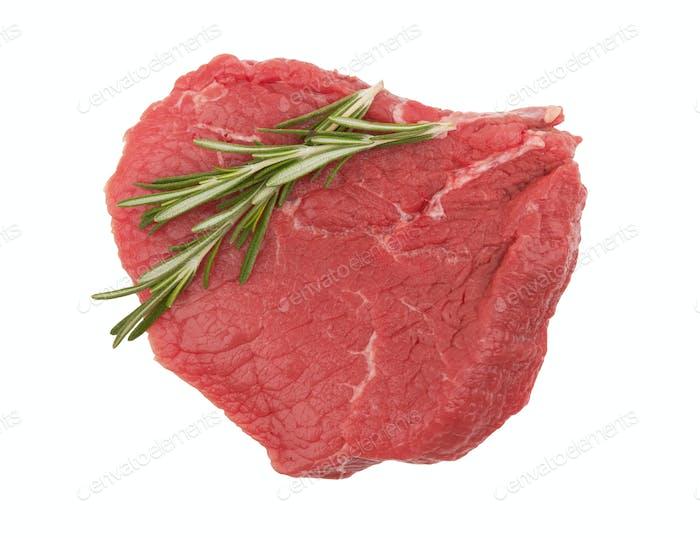 Frisches rohes Fleisch auf weißem Hintergrund isoliert