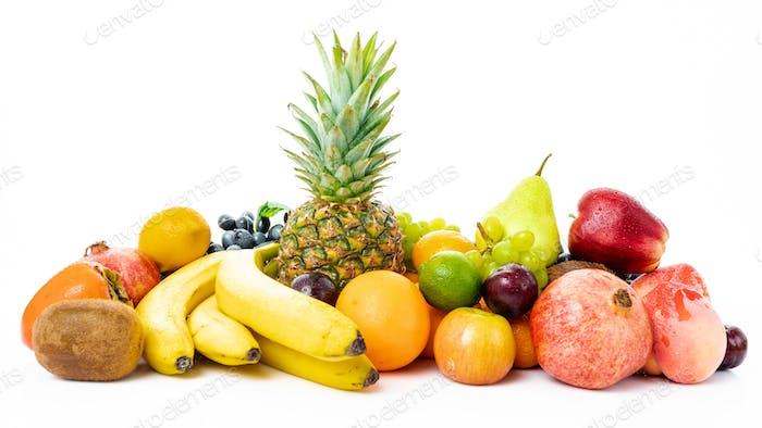 Mix of Fresh Organic Fruits isolated on white background
