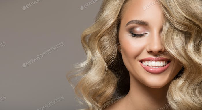 Blonde Woman With Curly Beautiful Hair