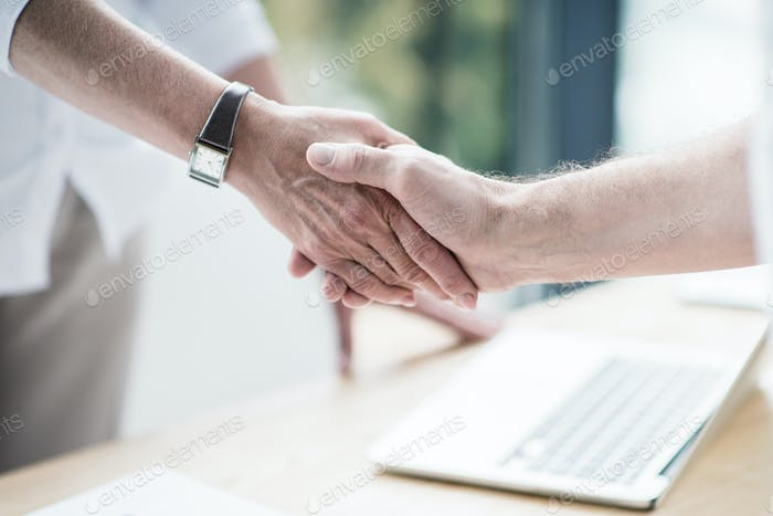 Business partners shaking hands at office