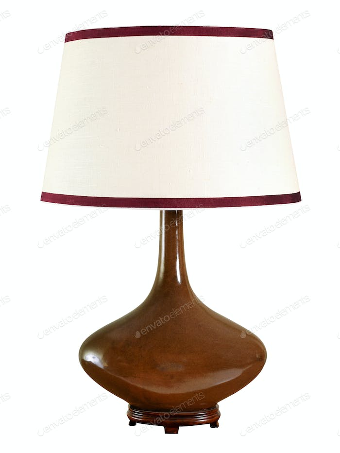 Elegant bulbous brown table lamp with shade