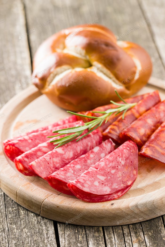 Slices of smoked salami sausage.