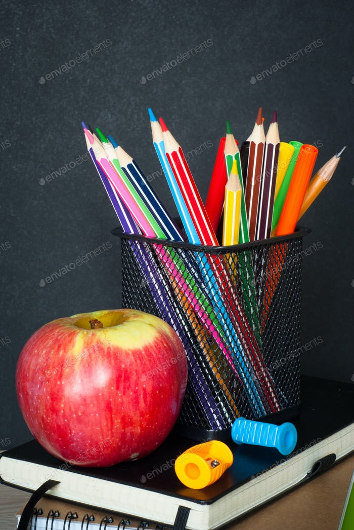 School  supplies on classroom table