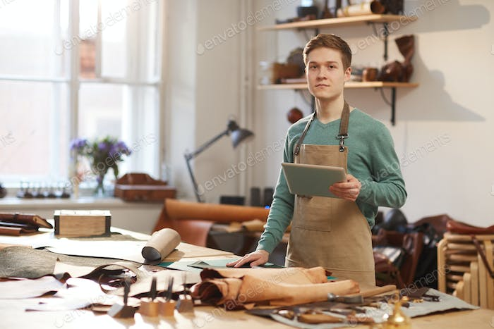 Male Artisan With Tablet PC