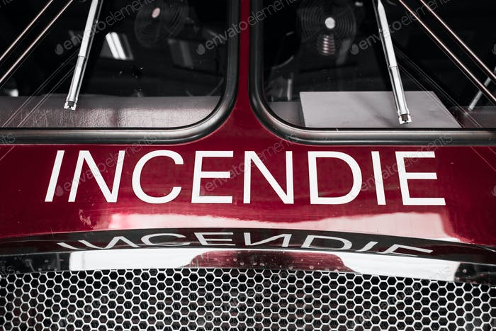 Red Firetruck Details of the Front with Wording