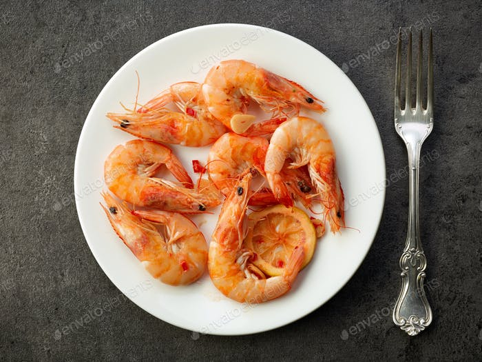 fried prawns on white plate