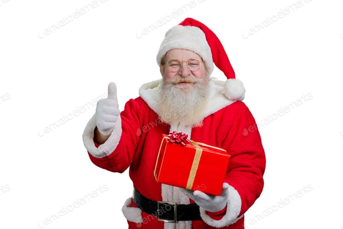 Happy Santa Claus giving thumb up