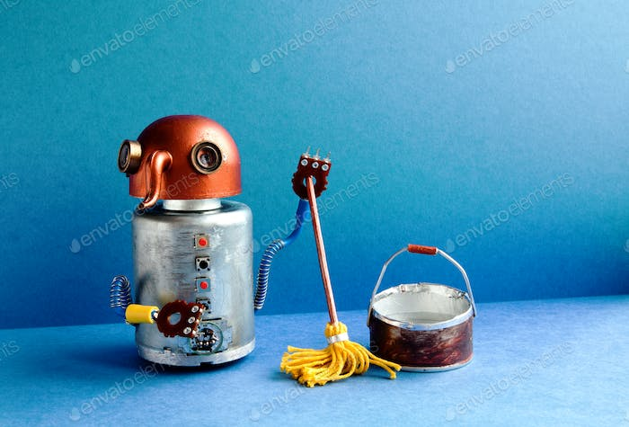 Cleaning washing room service concept. Funny robot janitor cleaner with yellow mop