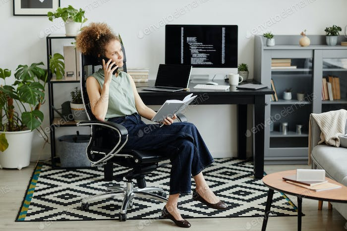 Businesswoman discussing working moments