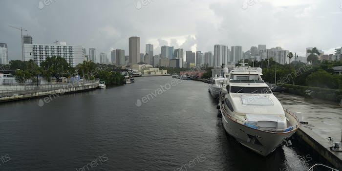 Yacht in Ship Canal  Hurricane Season Miami Florida