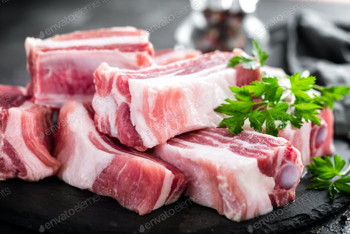 Pork ribs, raw meat