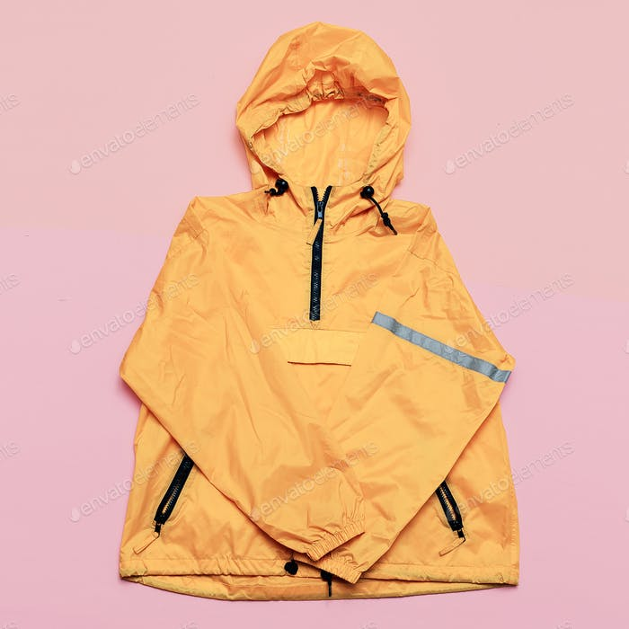 Fashionable Orange Jacket, Urban style. Street Outfit Hi Rains S