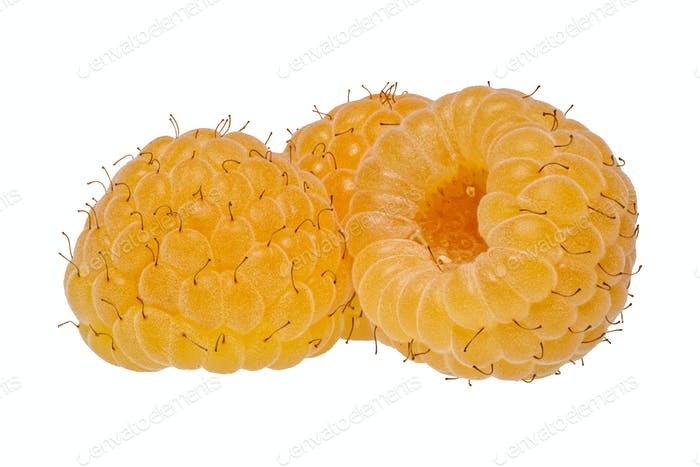 Yellow raspberries on a white background