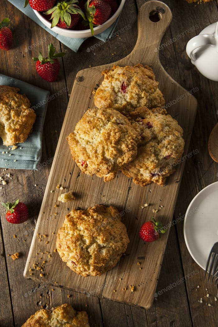 Homemade Strawberry Scones for Breakfast