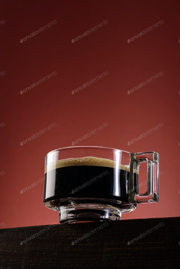 Black coffee in glass cup