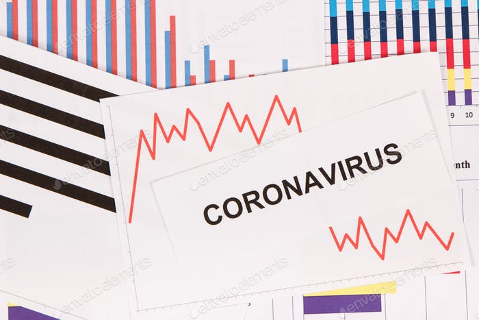 Inscription coronavirus and declining chart as risk of financial crisis caused by virus