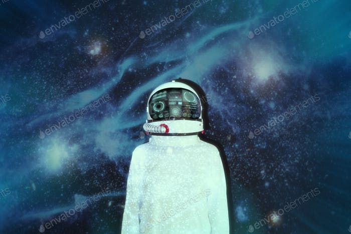 Female astronaut with space suit in outer space