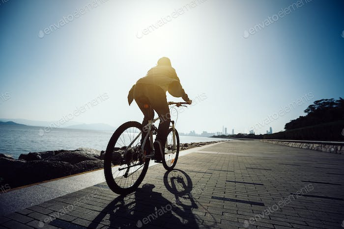 Cycling in the morning coast