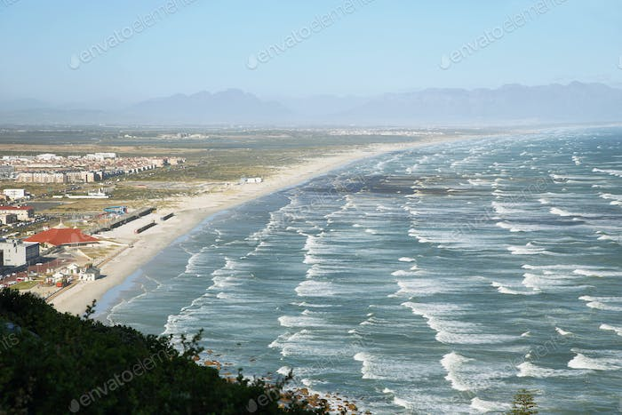 Long white sand beach near Muizenberg