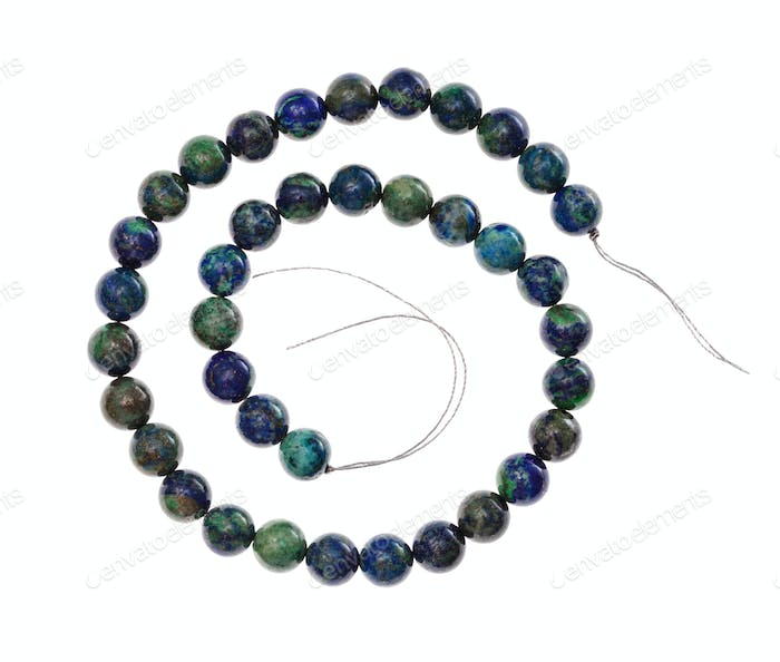spiral string of beads from azurite gemstone