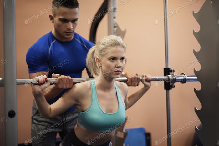 Precise workout with personal trainer