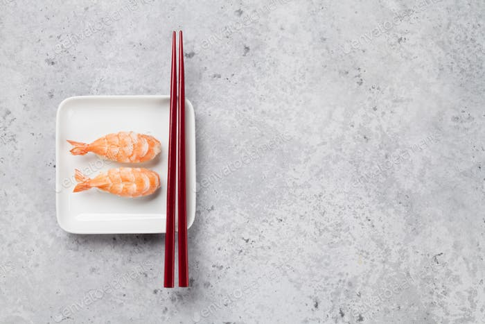 Japanese sushi set with shrimps