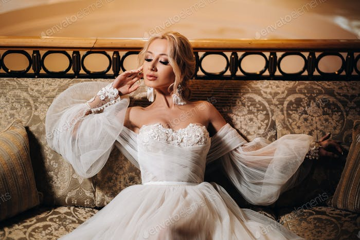 Beautiful Bride Portrait wedding makeup, wedding hairstyle, Wedding dress. Gorgeous young bride at