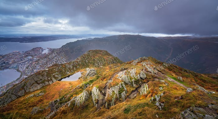 Dramatic panoramic landscape of mountains from Mount Ulriken