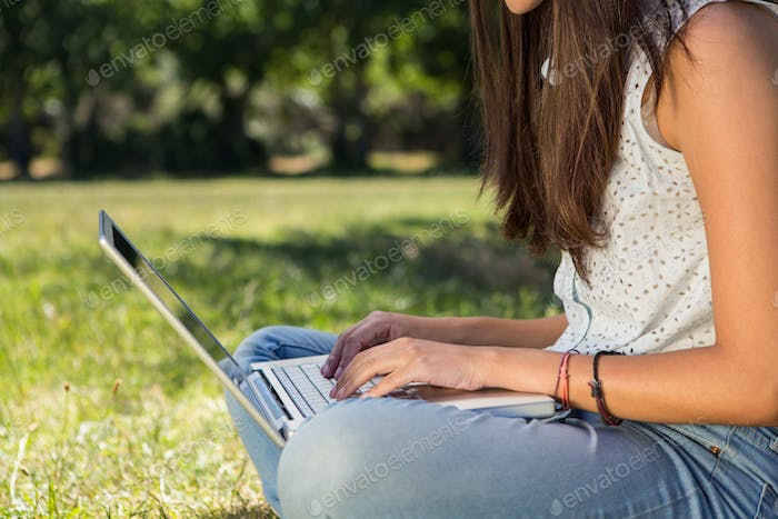 Pretty brunette using laptop in park on a summers day