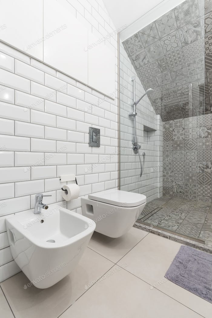 White bathroom with toilet and shower