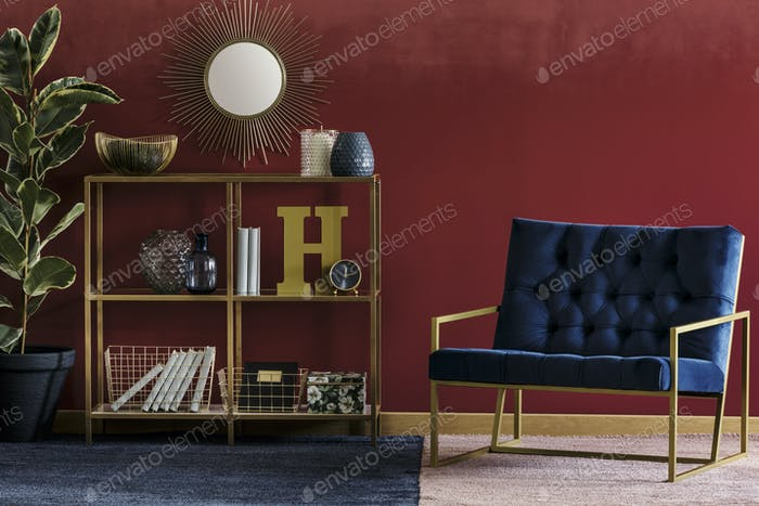 Golden rack with decor