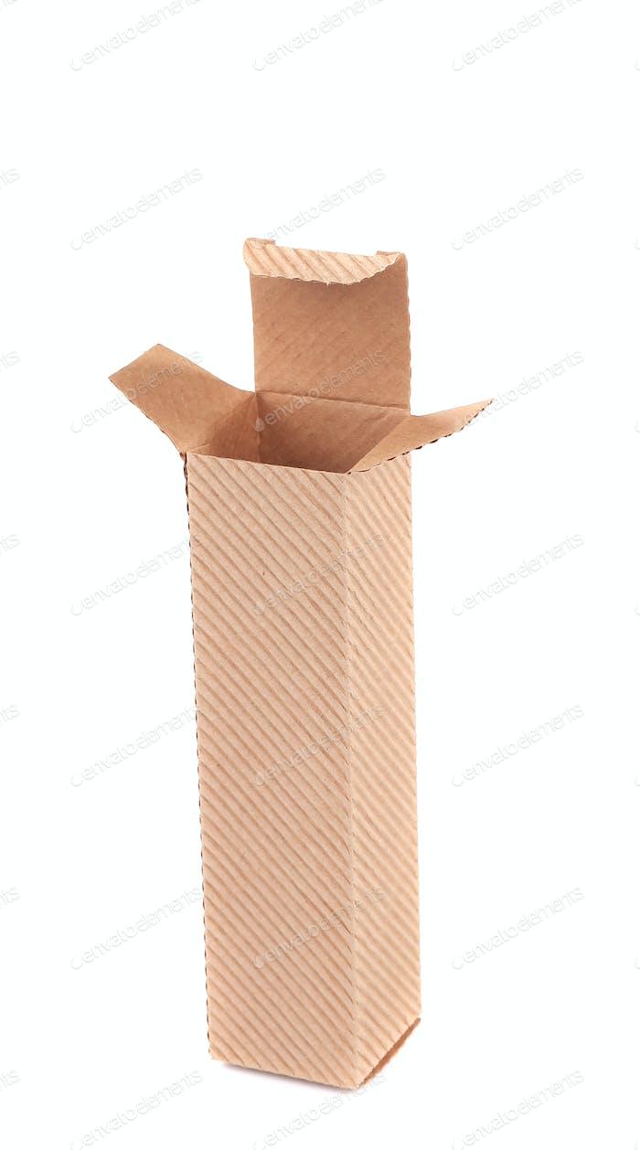 Opened small cardboard box.