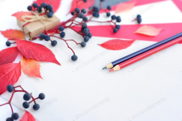 Autumn background with pencils, sheets of paper and autumn leave
