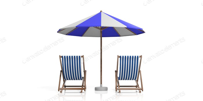 Beach chairs and umbrella on white background. 3d illustration