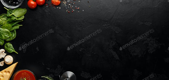 Space For Recipe. Pizza Cooking Ingredients On Black Background